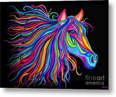 Rainbow Horse Too Metal Print