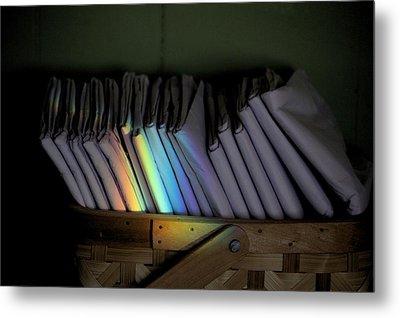 Rainbow In A Basket Metal Print