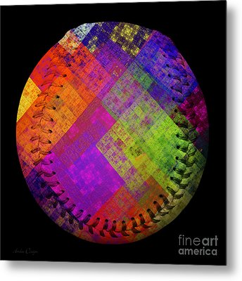 Rainbow Infusion Baseball Square Metal Print by Andee Design