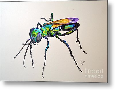 Rainbow Insect Metal Print by Dion Dior