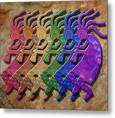 Rainbow Kokopellis Metal Print by Megan Walsh