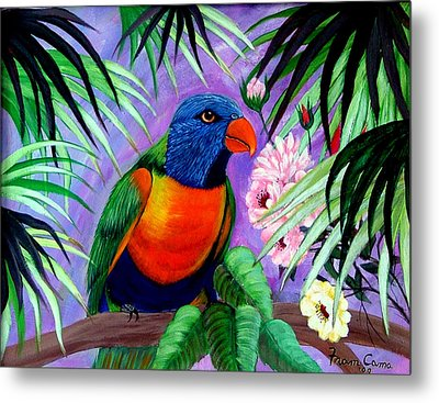 Metal Print featuring the painting Rainbow Lorikeets. by Fram Cama