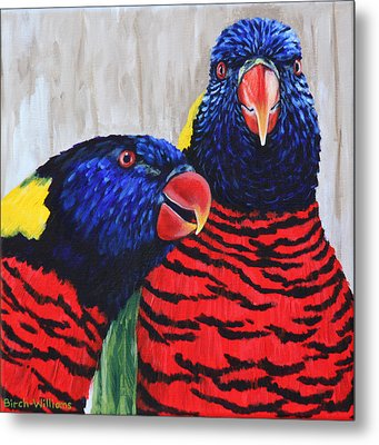 Rainbow Lorikeets Metal Print by Penny Birch-Williams