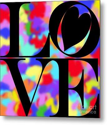 Rainbow Love In Black Metal Print