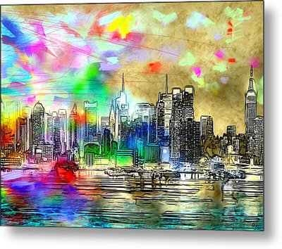 Rainbow Nyc Skyline Metal Print