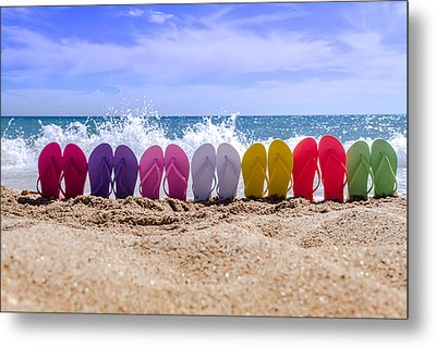 Rainbow Of Flip Flops On The Beach Metal Print