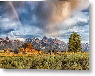 Rainbow On Moulton Barn - Horizontal - Grand Teton National Park Metal Print by Andres Leon