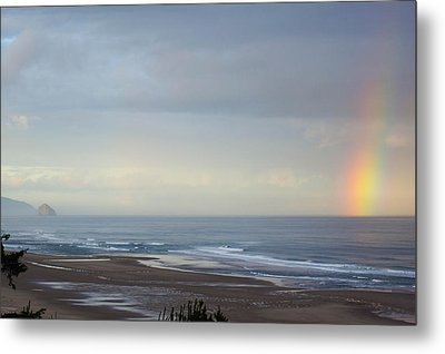 Rainbow On My Beautiful Beach Metal Print by Angi Parks