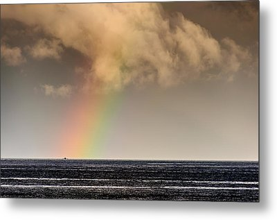 Rainbow Over A Black Ocean Metal Print by Colin Utz