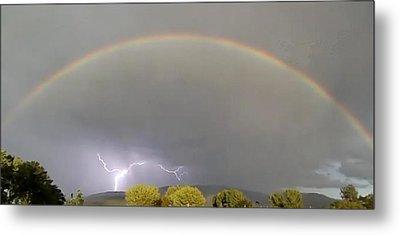 Rainbow Over Lightening Metal Print