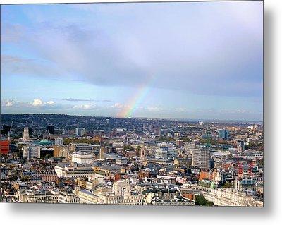 Rainbow Over London Metal Print by Melissa Petrey