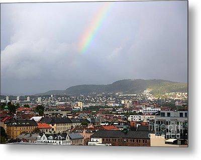 Rainbow Over Oslo Metal Print by Carol Groenen