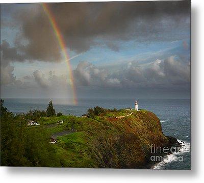Rainbow Over Kilauea Lighthouse On Kauai Metal Print