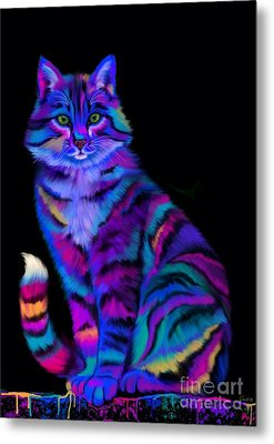 Rainbow Painted Tiger Cat Metal Print by Nick Gustafson