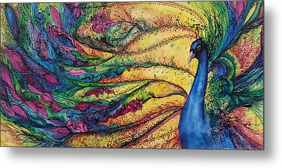 Rainbow Peacock Metal Print by Christy  Freeman