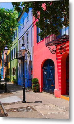 Rainbow Row Charleston Metal Print by Skip Willits