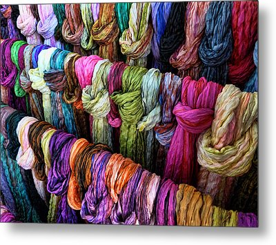 Metal Print featuring the photograph Rainbow Scarfs  by Kim Andelkovic