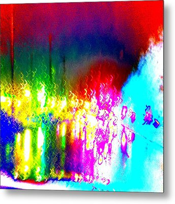 Metal Print featuring the photograph Rainbow Splash Abstract by Marianne Dow