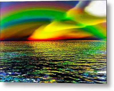 Rainbow Thunder      Enhanced Version Metal Print by Rebecca Phillips