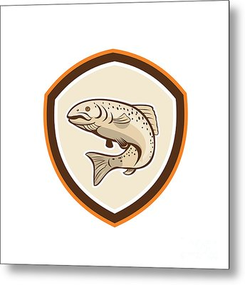 Rainbow Trout Jumping Cartoon Shield Metal Print by Aloysius Patrimonio