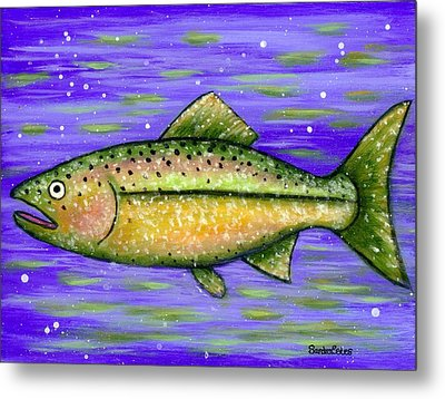Metal Print featuring the painting Rainbow Trout by Sandra Estes