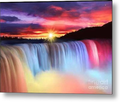 Rainbow Waterfall Metal Print by Belinda Threeths