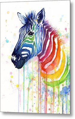Rainbow Zebra - Ode To Fruit Stripes Metal Print by Olga Shvartsur