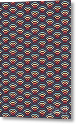 Rainbowaves Pattern Dark Metal Print by Freshinkstain