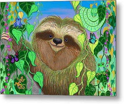 Rainforest Sloth Metal Print