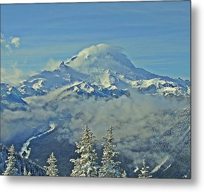 Metal Print featuring the photograph Rainier Cloaked In Winter by Jeff Cook