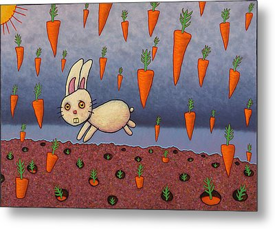 Raining Carrots Metal Print by James W Johnson