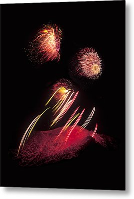 Raining Fire At Midnight Above 14000 Feet Metal Print by Bijan Pirnia