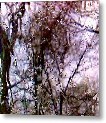 Metal Print featuring the photograph Rainscape - Rain On The Window Series 1 Abstract Photo by Marianne Dow