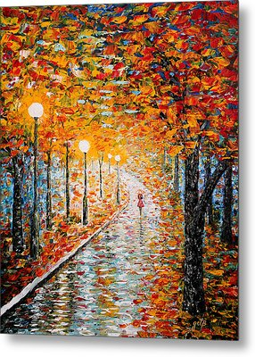 Metal Print featuring the painting Rainy Autumn Day Palette Knife Original by Georgeta  Blanaru