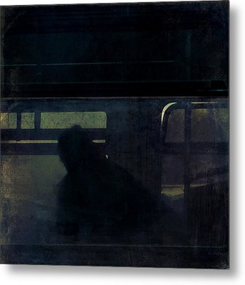 Rainy Commute Metal Print by Lin Haring