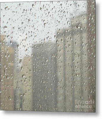 Rainy Day City Metal Print by Ann Horn