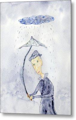 Rainy Day Man Metal Print