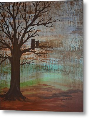 Rainy Day Owls Metal Print
