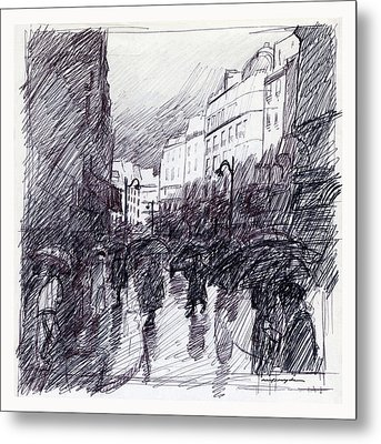 Rainy Day Paris Metal Print by J Reifsnyder
