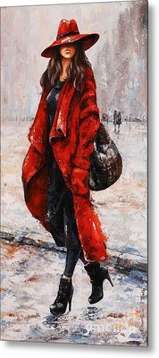 Rainy Day - Red And Black #2 Metal Print