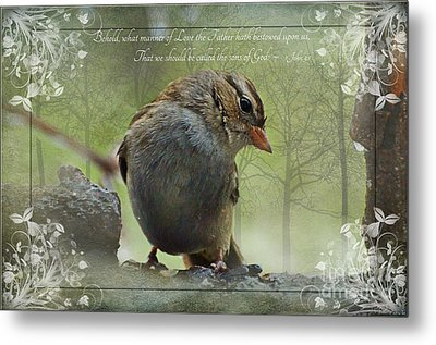 Rainy Day Sparrow With Verse Metal Print