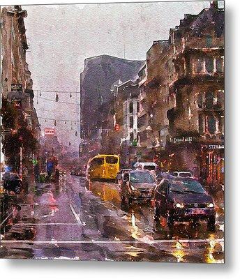 Rainy Day Traffic Metal Print by Marian Voicu