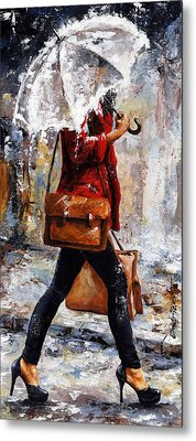 Rainy Day - Woman Of New York 17 Metal Print by Emerico Imre Toth