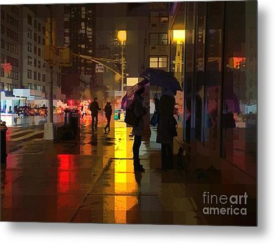 Rainy Night New York Metal Print by Miriam Danar