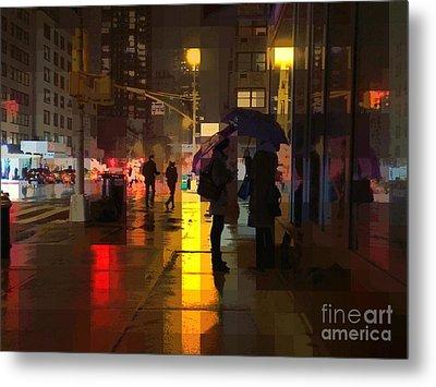 Rainy Night New York Metal Print