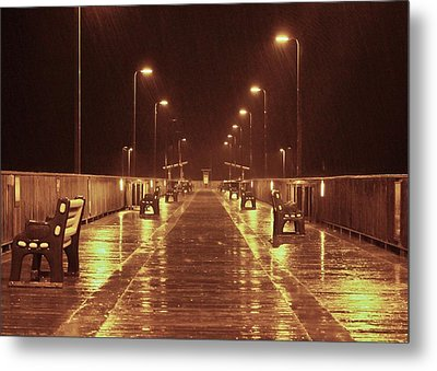 Rainy Night On The Pier Metal Print