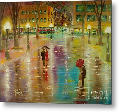 Rainy Reflections Metal Print