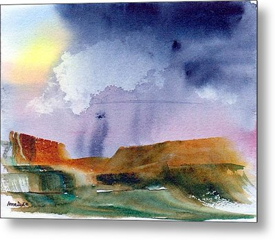 Metal Print featuring the painting Rainy Skies by Anne Duke