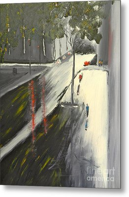 Rainy Street In Melbourne Metal Print