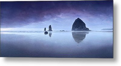 Metal Print featuring the photograph Rainy Sunset Over Cannon Beach by Sebastien Coursol
